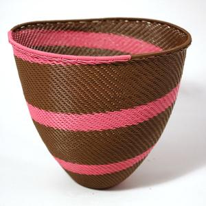 Skål telefontråd rosa & brun