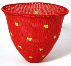Red telephone wire bowl with yellow spots