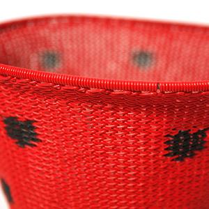 Skål telefontråd röd med svarta prickar