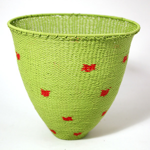 Lime telephone wire bowl with red spots