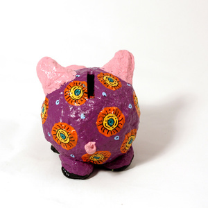 Moneybox smal pig purple