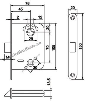 Dorma låshus DL111 för innerdörr