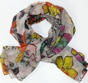 XXL-sjal med fjärilar och blommor