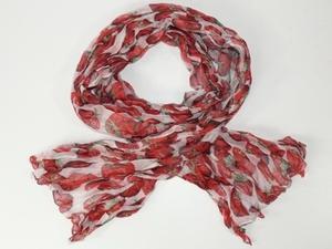 Krinklad chiffonscarves med tomat-motiv