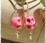 Pink skull earrings