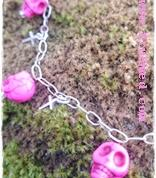Pink skull necklace