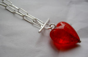 Big heart of glass necklace