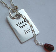 Necklace with blood type