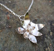 Necklace with silver waterlily