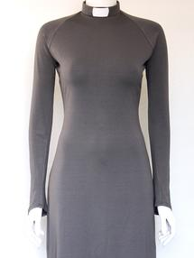 HULDA-dress medium grey, slim sleeve
