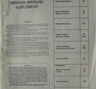 1987 Chevrolet Sprint Turbo Service Manual Supplement