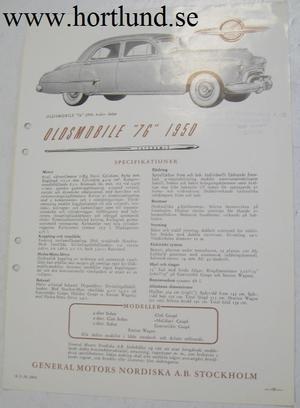 1950 Oldsmobile 76 broschyr