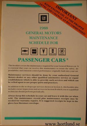 1988 GM Maintenance Schedule alla modeller