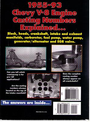 1955 - 1993 Catalog of Chevy V-8 Engine Casting Numbers and stamped numbers