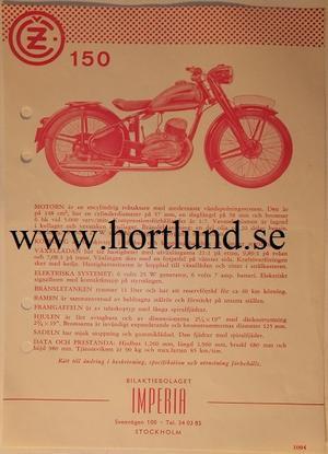 1953-1954 CZ 150 broschyr