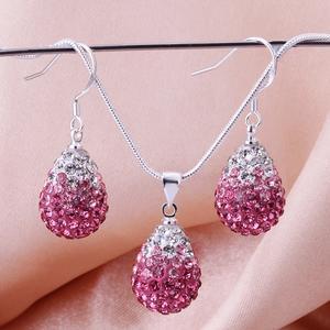 Shamballa crystal drop rosa/silver