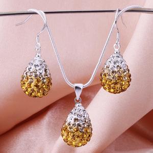 Shamballa crystal drop guld/silver