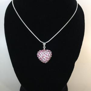 Strass randigt hjärta silver/rosa