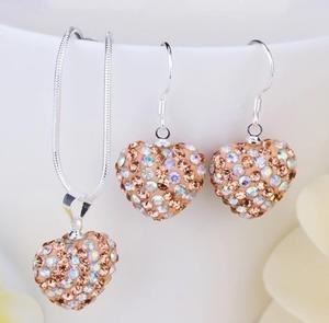 Shamballa crystal heart nougat/silver