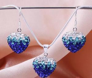 Shamballa crystal heart blå/turkos