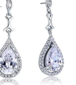 Elegant Strass drop silver
