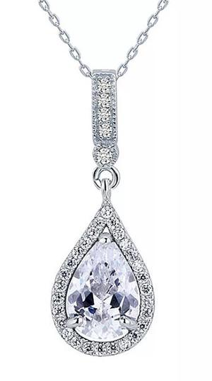 Elegant Strass drop silver halsband