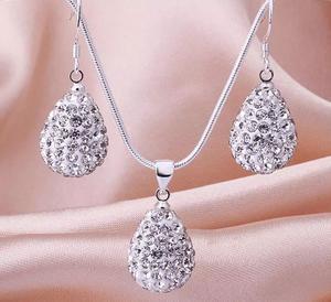 Shamballa crystal drop silver