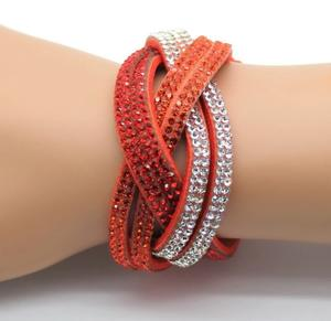 Mocka strass flätad bred orange