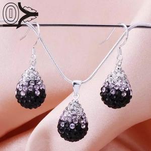 Shamballa crystal drop svart/ljusrosa