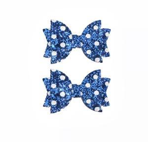 Hårsklämma Rosett blå/vit prickig