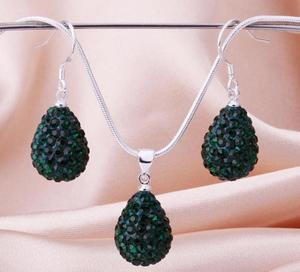 Shamballa crystal drop grön