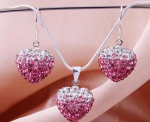 Shamballa crystal heart rosa