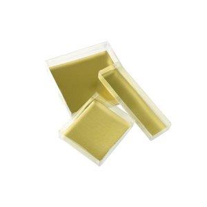 Pralinkartong med guldskiva, avlång (ca 4 bitar)