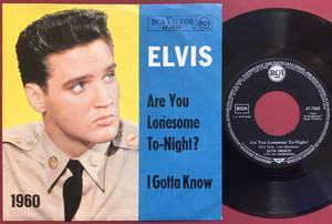 "ELVIS PRESLEY - Are you lonesome tonight? 7"" Svart etikett Ger PS 1960´s"