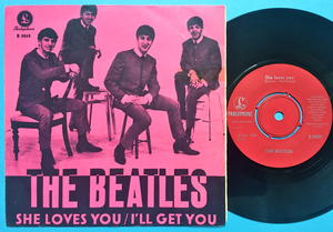 """BEATLES - She loves you 7"""" PINK Swe PS 1963"""