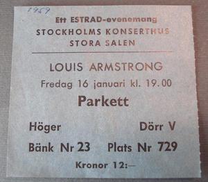 LOUIS ARMSTRONG Biljett Konserthuset Stockholm 1959