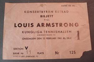 LOUIS ARMSTRONG Ticket KUNGL. TENNISHALLEN 1961
