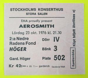 AEROSMITH - Stockholm 1976