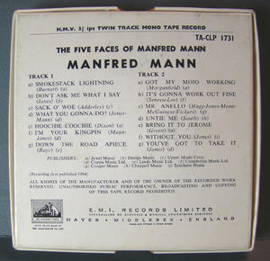 MANFRED MANN The five faces - RULLBAND 60-tal