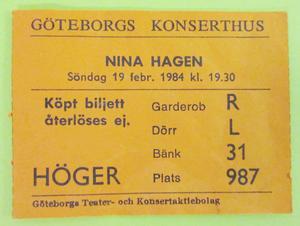 NINA HAGEN - Göteborg 1984