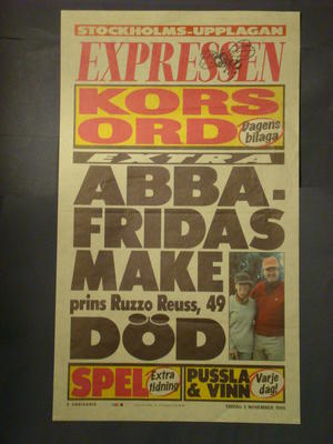 EXPRESSEN LÖPSEDEL (ABBA FRIDAS MAKE DÖD)