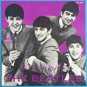 "BEATLES - All my loving Rare PURPLE 7"" Swe-63 PS ONLY - Archive copy / MINT-!"