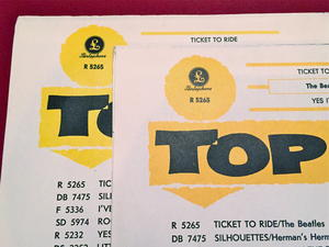 """BEATLES -  Ticket to ride DARK YELLOW 7"""" Swe-65 PS ONLY - Archive copy / MINT-!"""