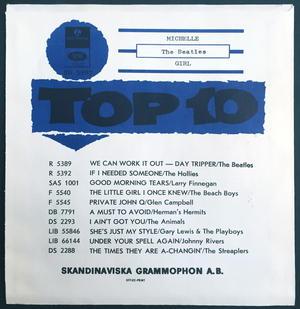 "BEATLES - Michelle TOPLIST 7"" Swe -66 PS ONLY - Archive copy / MINT-!"