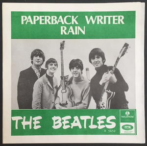 "BEATLES - Paperback writer ORANGE BACK 7"" Swe-66 PS ONLY - Archive copy / MINT-!"