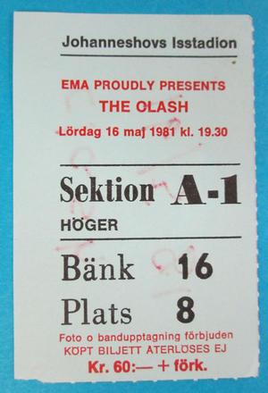 THE CLASH - Stockholm 1981 - VG skick