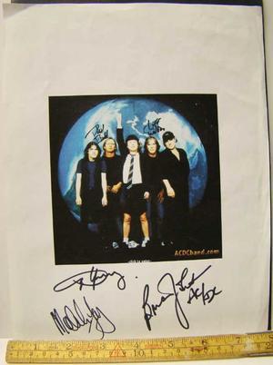 AC/DC - five autographs on print copy 1999