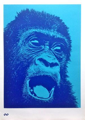G.L. UNIT - Orangutang! KONSUM Apa (ca 1970) Mörkblå / ljusblå