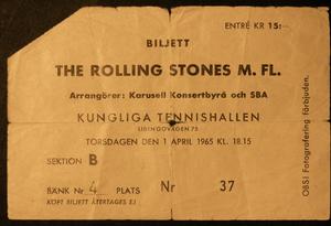 ROLLING STONES - Concert ticket Kungl. Tennishallen Stockholm 1965 BEIGE