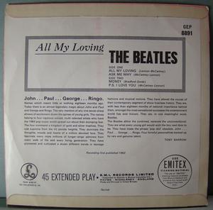 BEATLES - All my loving + 3 EP UK 1963